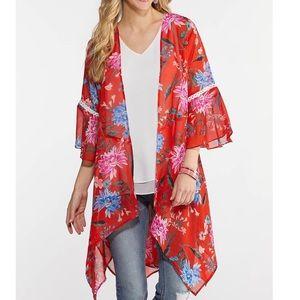 22/24w red sheer long boho kimono ruffle bell